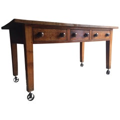 Antique Dining Table, Solid Oak Victorian 19th Century Kitchen Rustic Industrial