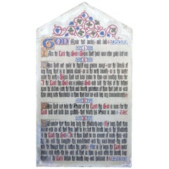 Painted Scripture of the Commandments on a Slate Church Wall Panel
