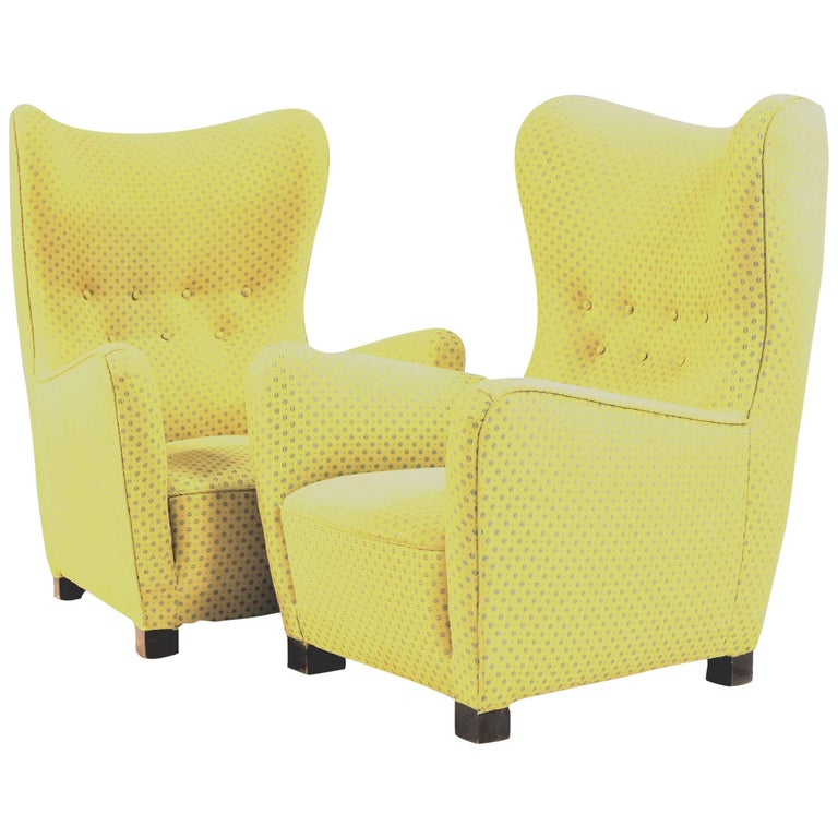 1940s Set of Two Fritz Hansen Wingback Chairs Attributed to Thorald Madsen