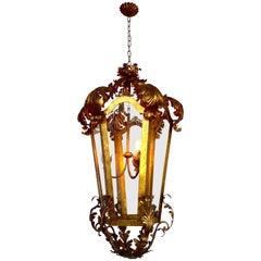 Venetian Italian Glass Lantern Gilt Gold Structure