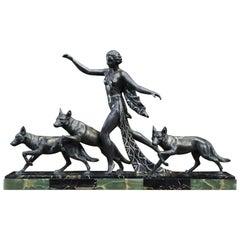 Art Deco Sculpture Woman with Wolves by A. Delatour