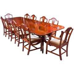 Vintage William Tillman Regency Dining Table and Ten Chairs, Late 20th Century