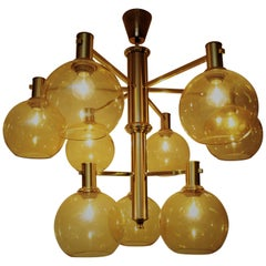 Large Vintage Brass and Glass Ceiling Lamp with golden domes 1960`s, Sweden