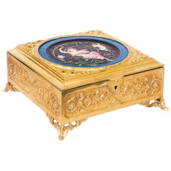 19th Century Art Nouveau Ormolu and Minton Porcelain Casket