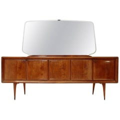 Italian Sideboard with Black Glass Top and Mirror