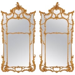 Pair of Large English Antique Giltwood Wall Mirrors in the Rococo Style