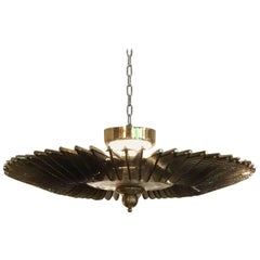 Vintage Italian Chandelier, Brass and Murano Glass