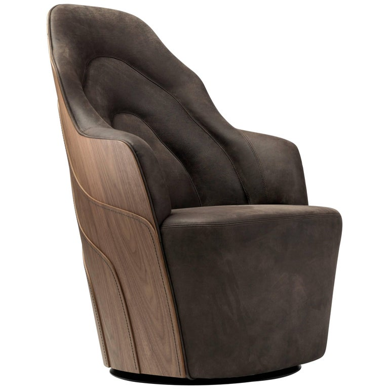 Varnished Walnut Couture Armchair For Sale At 1stdibs