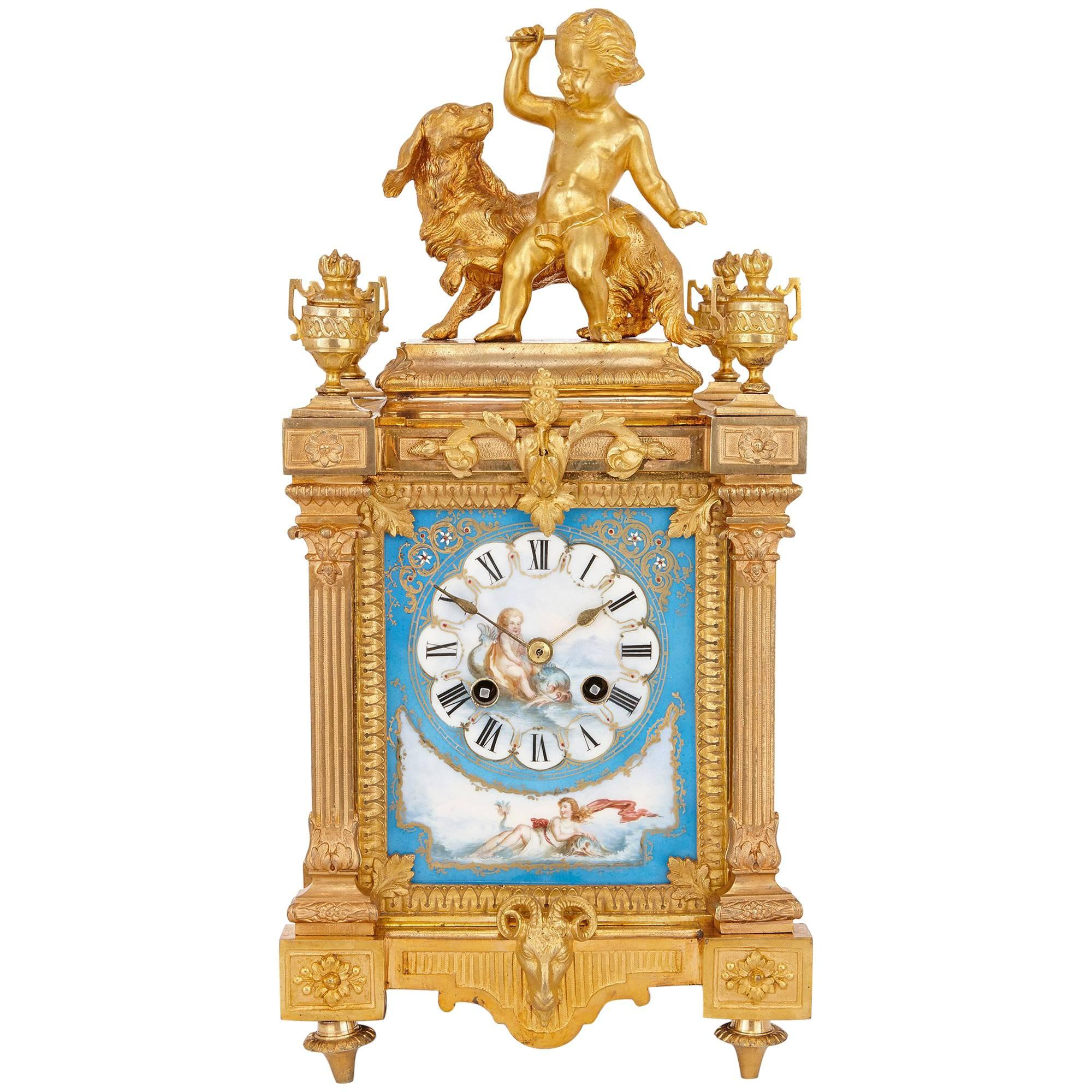 Neoclassical Mantel Clock in Ormolu and Sevres Style Porcelain by Ernest Royer