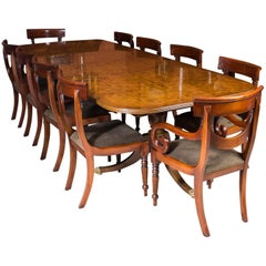 Stunning Burr Walnut Regency Style Twin Pillar Dining Table Ten Swag Chairs