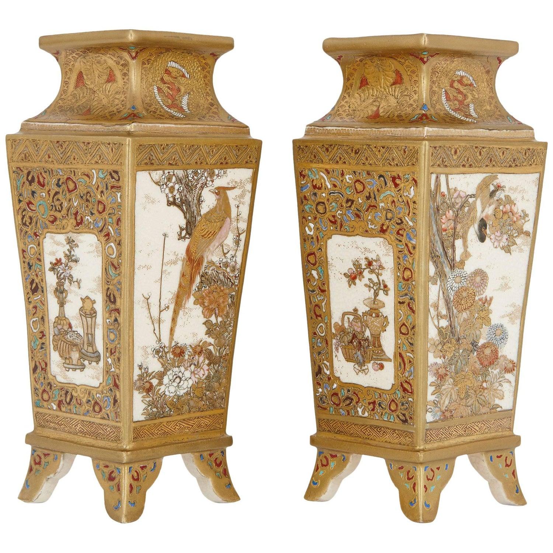 Pair of japanese antique satsuma porcelain vases for sale at 1stdibs reviewsmspy