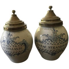Two Tobacco Jars or Pot 18th Century Delft Blue Probably Strasbourg Made