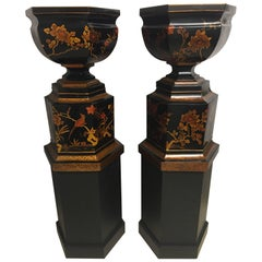 Monumental Pair of Elegant Maitland Smith Hand Painted Urns on Plinths