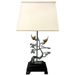 Frederick Cooper Birds on Tree Sculptural Brass and Bronze Table Lamp