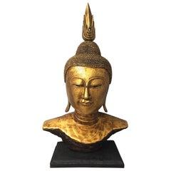Impressively Large Gilded Thai Buddha Bust