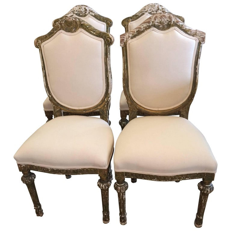 Set of Four Sublime French Louis XVI Side Dining Chairs