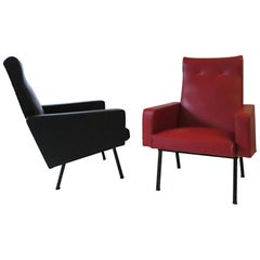 Pair of 1950s Avant-Garde French Modern Armchairs Style of Pierre Guariche