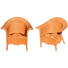 1980 Two Pair of Vintage Bamboo Sofa Chairs