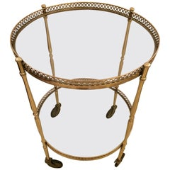 Classy Mid-Century Modern Round Brass Two-Tier Bar Cart End Table