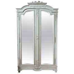 19th Century Painted and Distressed Mirrored Door Armoire