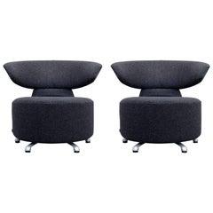 Cassina Biki Designer Chair Set Anthracite Grey Fabric