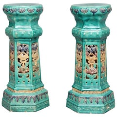 Pair of Early 20th Century Chinese Porcelain Pedestals