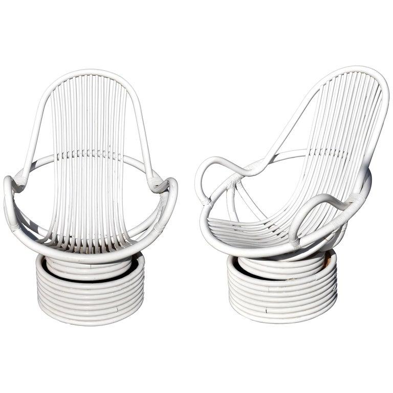 1980s Pair of White Swivel Bamboo Armchairs
