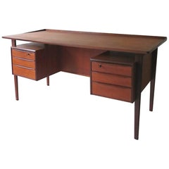 Danish Floating Teak Desk by Peter Løvig Nielsen for Dansk Design, 1960s