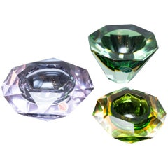 Set of Three Faceted Murano Glass Bowls, Prod. Sommerso