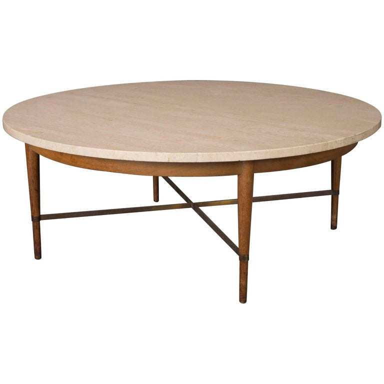 Paul McCobb for the Connoisseur Collection Round Travertine Cocktail Table