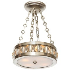 "A 12.5"" Nickel Tambour Ceiling Light with Chain"