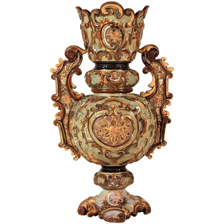 Large Majolica Vase by Wilhem Schiller & Sohn, Bohemia, circa 1890