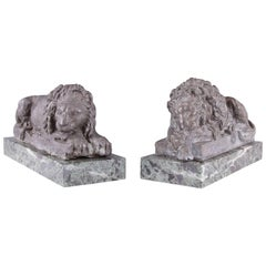 Pair of 19th Century Lead Canova Lions of Marble Plinths
