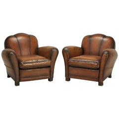 French Art Deco Original Cloud Back Style Club Chairs in Incredible Condition
