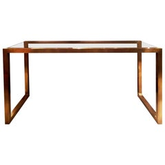 Brass Console Table with Glass Top