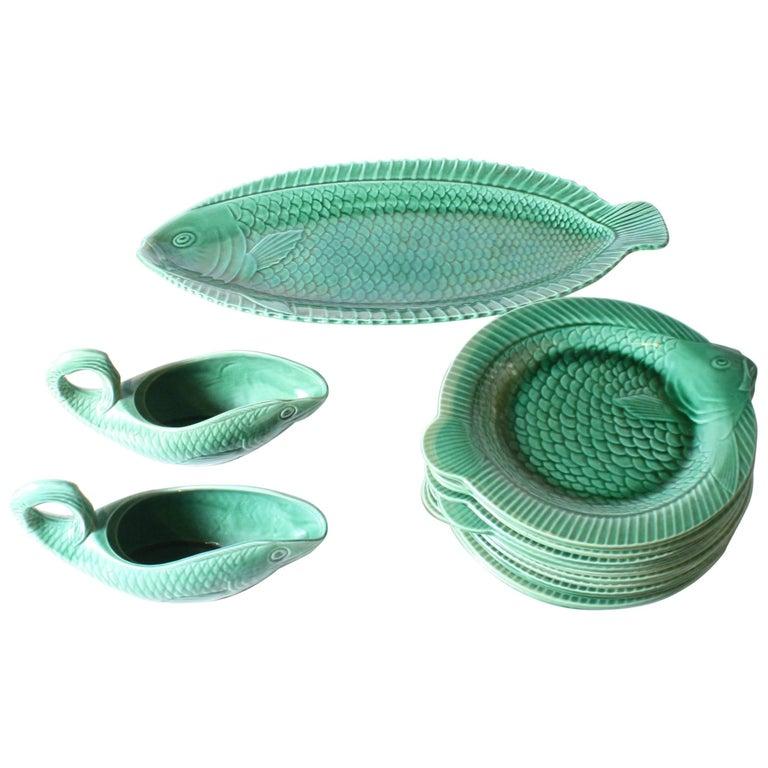 Set of 15 Green Ceramic Fish Dishes, circa 1950