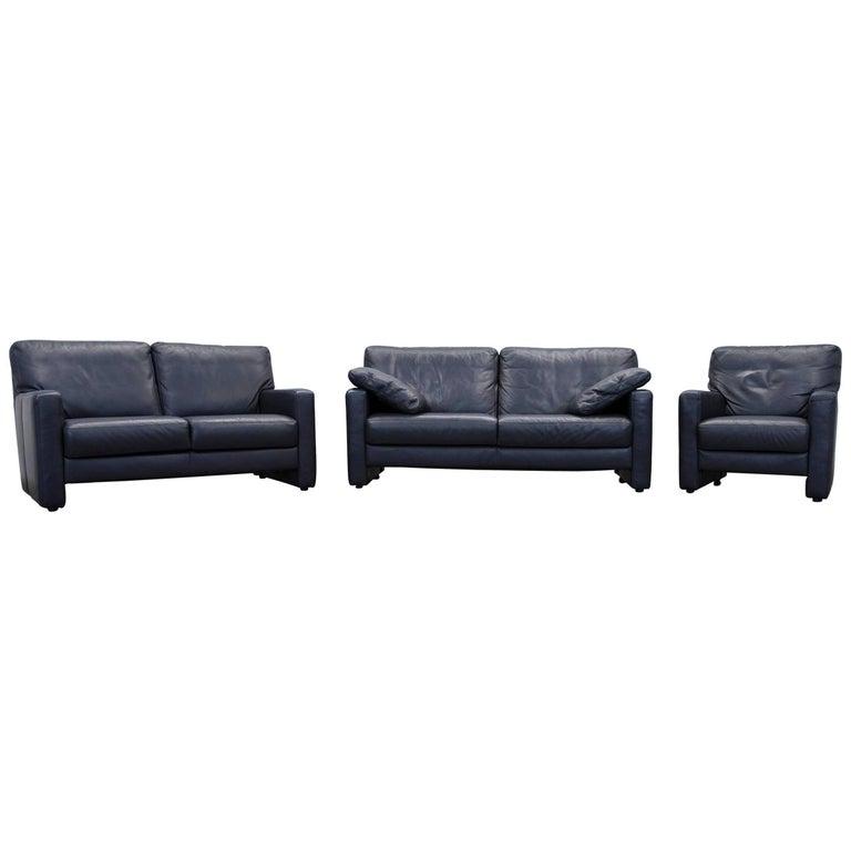 willi schillig designer sofa set chair two seat dark blue. Black Bedroom Furniture Sets. Home Design Ideas