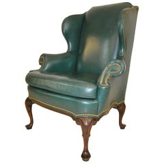 Hancock and Moore Green Leather Wingback Chair with Nailhead Trim