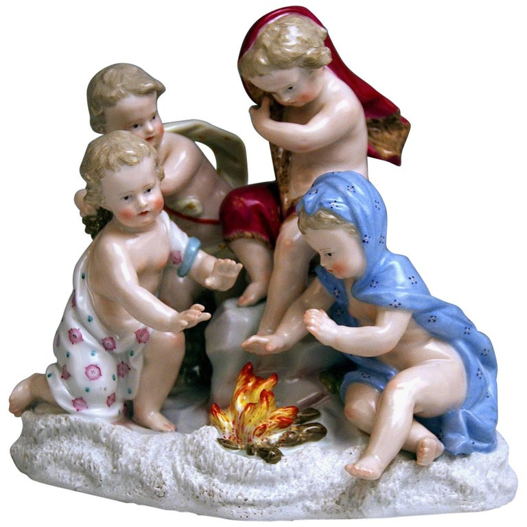 Meissen Allegory of Winter Four Cherubs Model 2495 Johann J. Kaendler