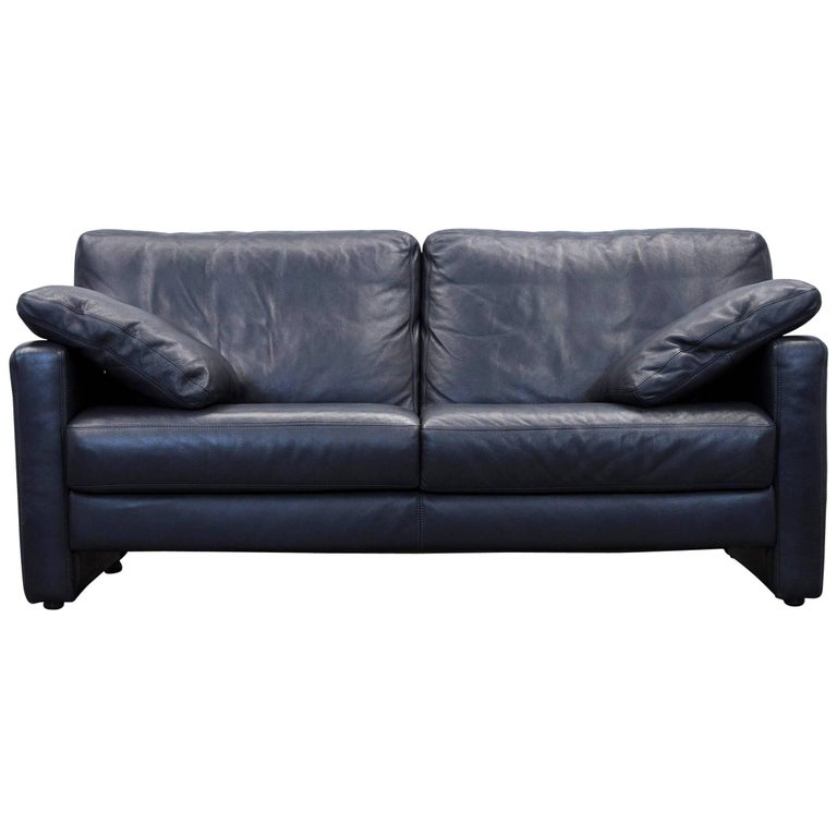 willi schillig designer sofa two seat dark blue leather. Black Bedroom Furniture Sets. Home Design Ideas