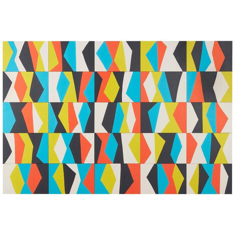 Angela Adams Jazz Painting, Acrylic on Birch Panels, Geometric and Modern