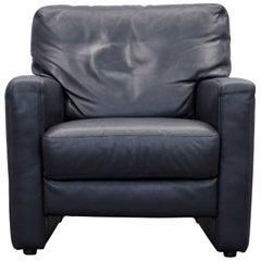 Willi Schillig Designer Chair Dark Blue Leather Minimalistic