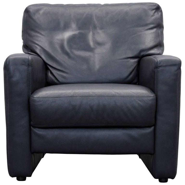 willi schillig designer chair dark blue leather minimalistic for sale at 1stdibs. Black Bedroom Furniture Sets. Home Design Ideas