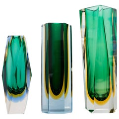 Set of Three Murano Faceted Glass Vases by Sommerso, Italy, circa 1960