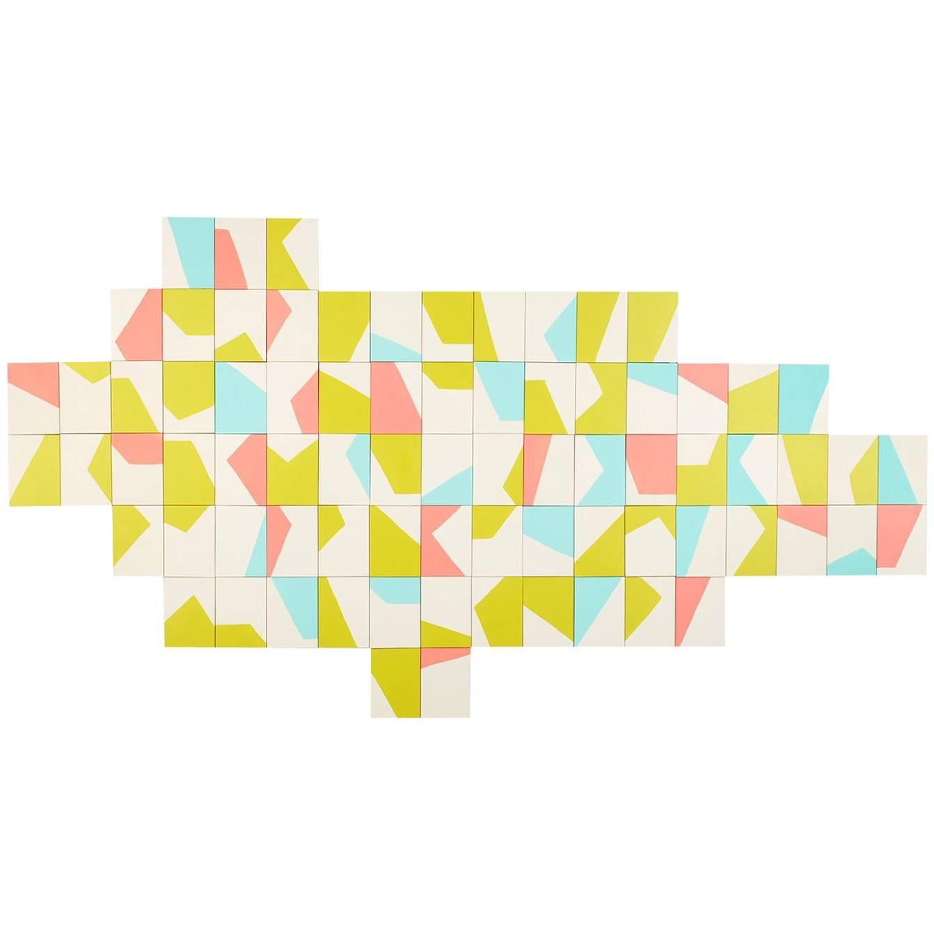 Angela Adams Xylo Painting, Acrylic on Birch Panels, Geometric and Modern