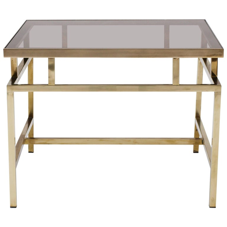 Brass and Smoked Glass Coffee Table in the Style of Maison Jansen For Sale