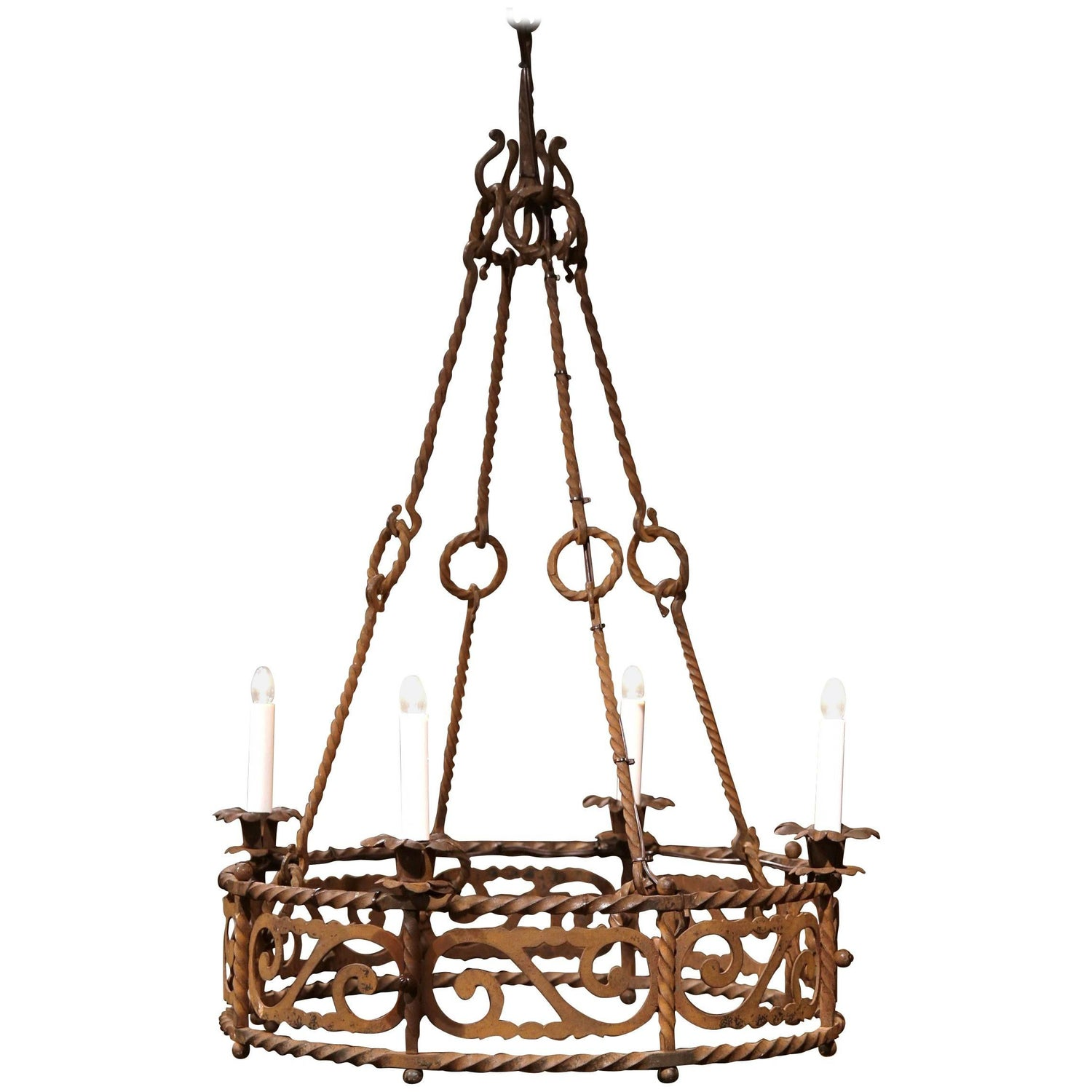 19th Century French Four Light Gothic Rusty Wrought Iron Round