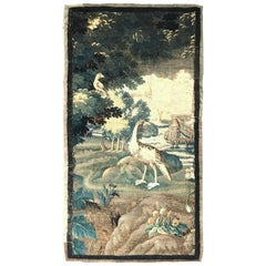 18th Century French Aubusson Verdure Tapestry with Birds Water and Windmill