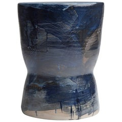 """Indigo 01 Bench"" Ltd. Ed. Partially Glazed Stoneware Stool by Pascale Girardin"