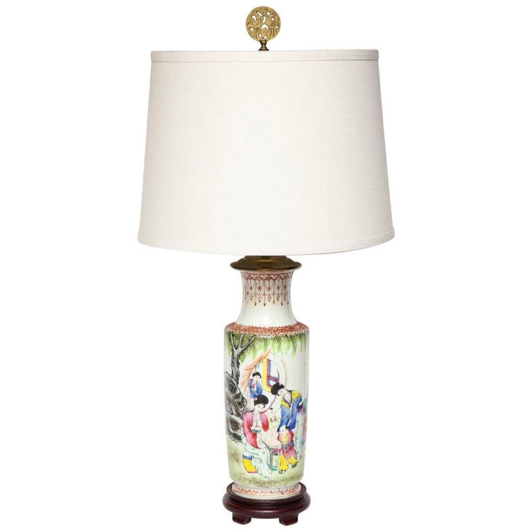 Chinese Porcelain Roleau Vase Fitted as a Lamp